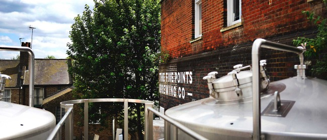 An external photo of the Five Points Brewing in Hackney taken from the top of the fermentation vessels