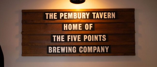The 'Home of The Five Points Brewing Company' sign at The Pembury Tavern in Hackney