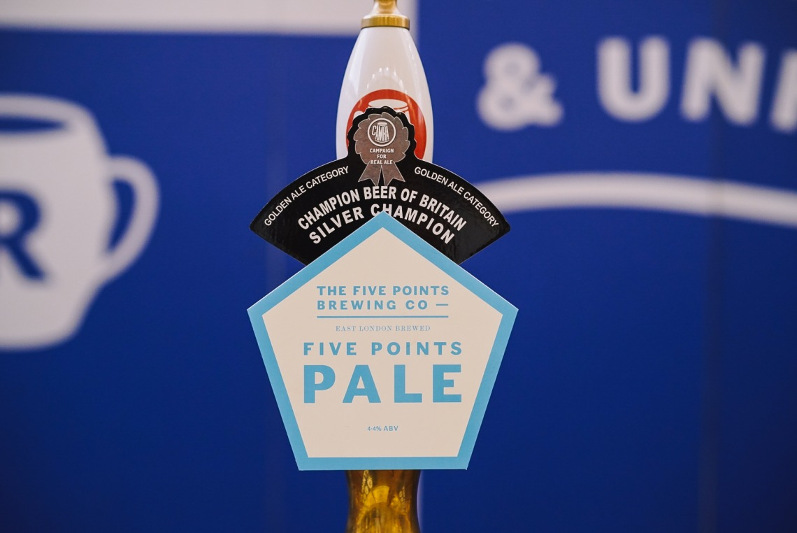 Five Points Pale on the bar at the Great British Beer Festival
