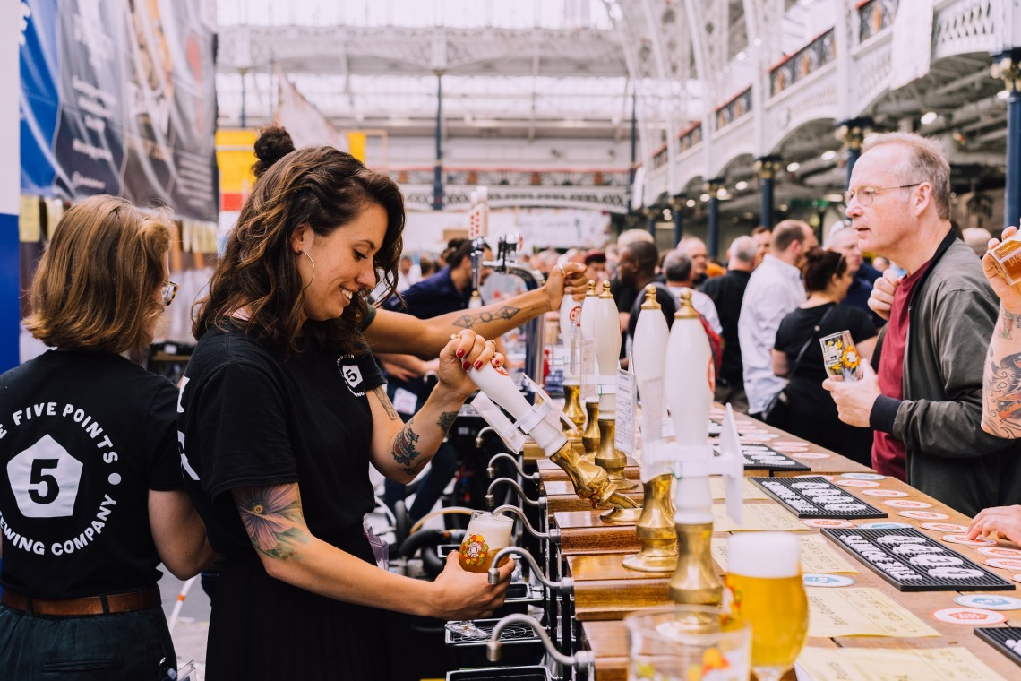 Five Points Staff pouring beer at The Great British Beer Festival